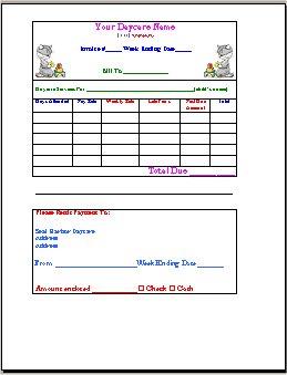 child care invoice template